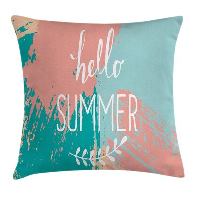 Hello Summer Lettering Cushion Pillow Cover Size: 16 x 16