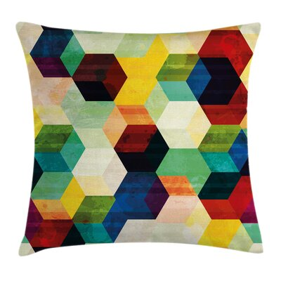 Rhombus Pattern Grunge Square Pillow Cover Size: 24 x 24