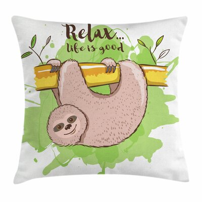 Exotic Sloth on Branch Square Pillow Cover Size: 16 x 16