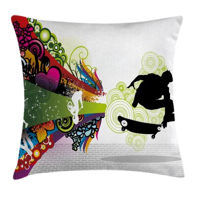 Skateboard Pillow Cover Size: 24 x 24