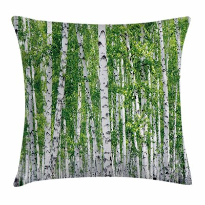 Birch Tree Fresh Summer Leaves Square Pillow Cover Size: 24 x 24