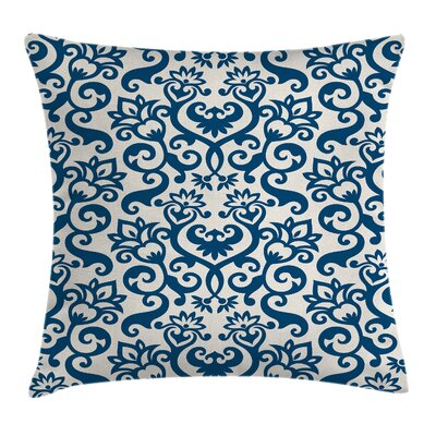 Floral Antique Damask Curvy Art Square Pillow Cover Size: 16 x 16