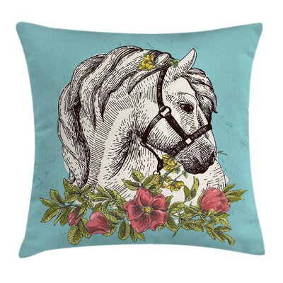 Boho Horse Opium Poppy Square Pillow Cover Size: 24 x 24