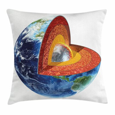 Earth Inner Core Science Square Pillow Cover Size: 18 x 18