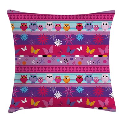 Owls, Flowers and Butterflies Kids Pillow Cover Size: 20 x 20
