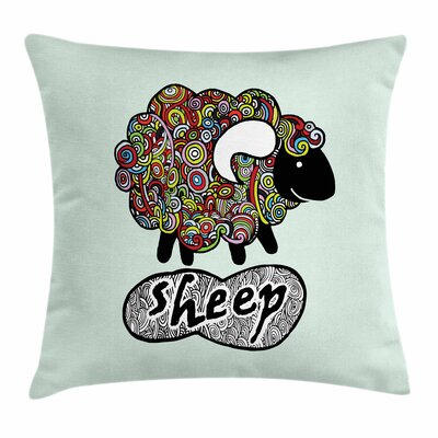 Hipster Doodle Fun Sheep Square Cushion Pillow Cover Size: 16 x 16
