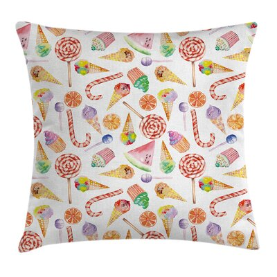 Candies Cakes Square Pillow Cover Size: 16 x 16