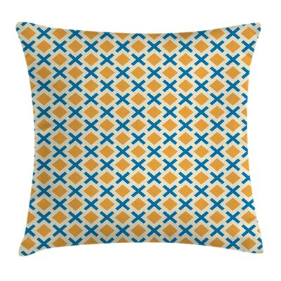 Squares Dashed Lines Tile Cushion Pillow Cover Size: 16 x 16