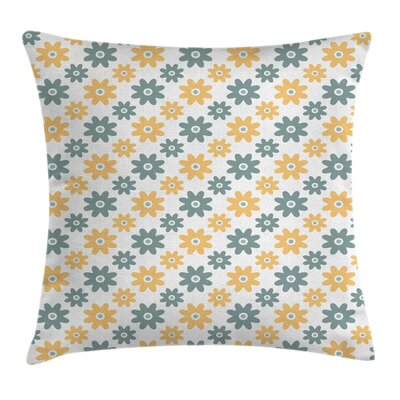 Retro Daisies Cushion Pillow Cover Size: 16 x 16