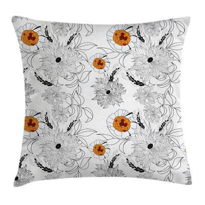 Modern Waterproof Floral Graphic Print Pillow Cover with Zipper Size: 16 x 16