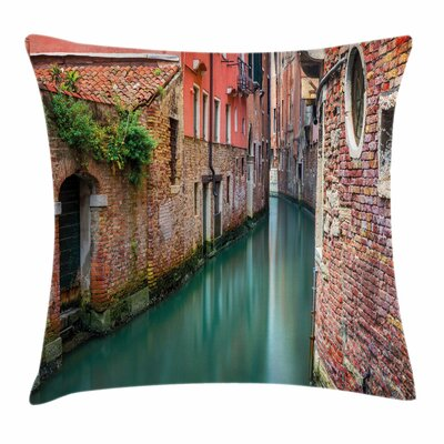 Scenic Canal Buildings Square Pillow Cover Size: 18 x 18
