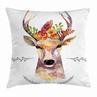 Deer Rustic Square Cushion Pillow Cover Size: 16 x 16