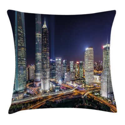 Skyline of Modern City Square Pillow Cover Size: 16 x 16