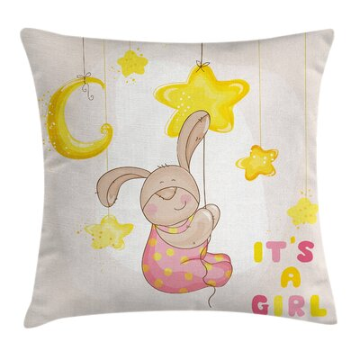Cartoon Bunny Stars Moon Square Pillow Cover Size: 16 x 16