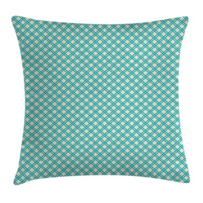 Aqua Checked Tile Cushion Pillow Cover Size: 18 x 18