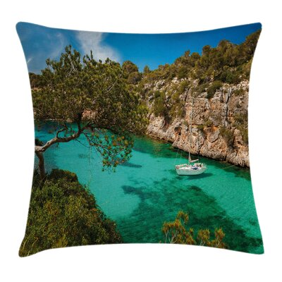 Yacht on Sea Scenic View Square Pillow Cover Size: 16 x 16