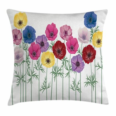 Anemone Blooming Summer Square Cushion Pillow Cover Size: 16 x 16