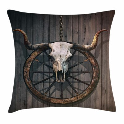 Wheel Bull Skull Rustic Square Pillow Cover Size: 18 x 18