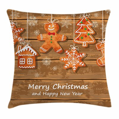 Gingerbread Man Watercolor Fun Square Pillow Cover Size: 24 x 24