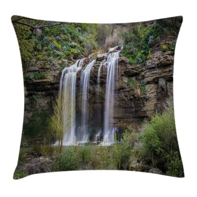 Waterfall Forest Sicily Square Pillow Cover Size: 18 x 18