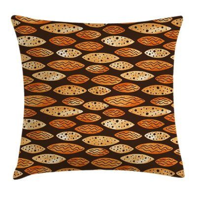 Spots Waves Elliptic Square Pillow Cover Size: 16 x 16