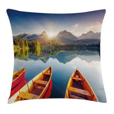 Lake Sailboats Square Pillow Cover Size: 18