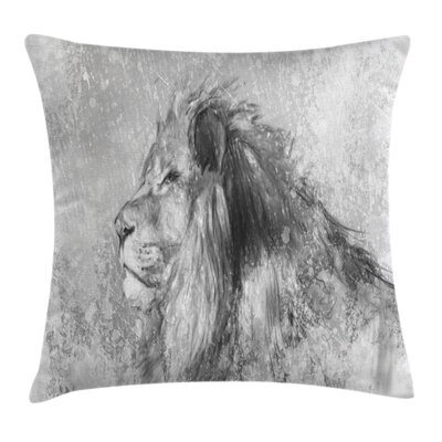 Safari Lion Sketch Cushion Pillow Cover Size: 18 x 18