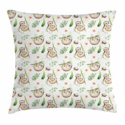 Sloth Mother Baby and Flowers Square Pillow Cover Size: 18 x 18
