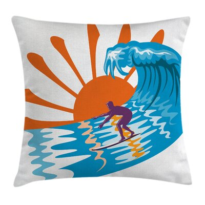 Surfing Pillow Cover Size: 24 x 24