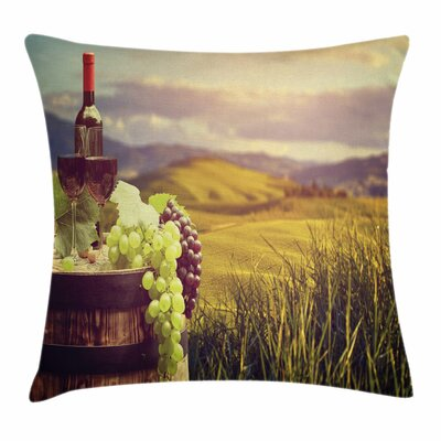 Wine Italy Tuscany Vineyard Square Pillow Cover Size: 24