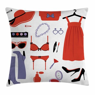 Heels and Dresses Women Garment Square Pillow Cover Size: 24 x 24