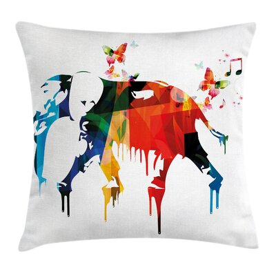 Removable Graphic Print Square Pillow Cover Size: 18 x 18