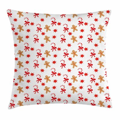Gingerbread Man Candy Star Square Pillow Cover Size: 24 x 24