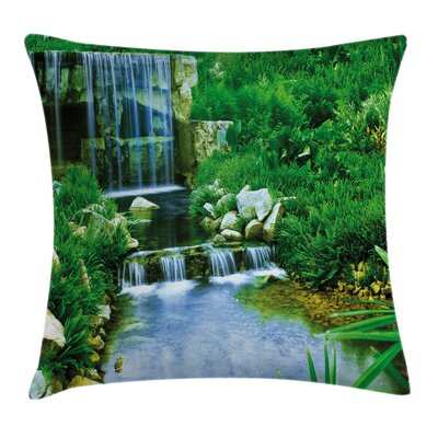 Waterfall Rocks Forest Square Pillow Cover Size: 18 x 18