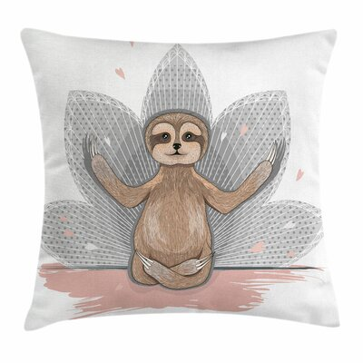 Little Sloth Meditation Square Pillow Cover Size: 18 x 18
