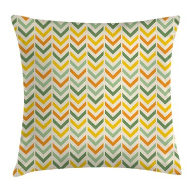 Chevron Retro Zigzags Vertical Square Pillow Cover Size: 20 x 20