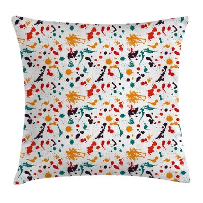 Color Splashes Drops Square Pillow Cover Size: 18 x 18
