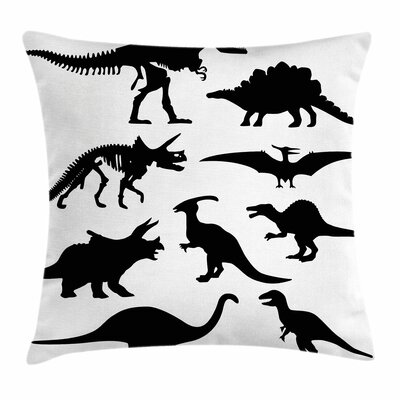 Dinosaur Ancient Wild Skeleton Square Cushion Pillow Cover Size: 24 x 24