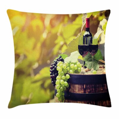 Wine Agriculture Country Drink Square Pillow Cover Size: 16 x 16