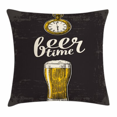 Modern Beer Time and Old Watch Square Pillow Cover Size: 18