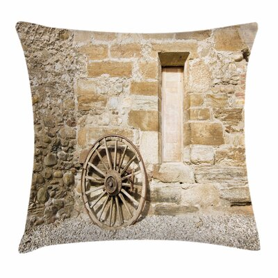 Wheel Ancient Country Square Pillow Cover Size: 18 x 18