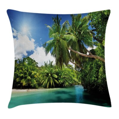 Jungle Mahe Island Lake Palms Square Pillow Cover Size: 24 x 24