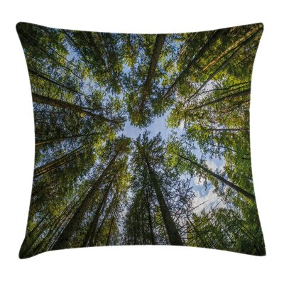 Jungle Moss Forest Trees Square Pillow Cover Size: 24 x 24