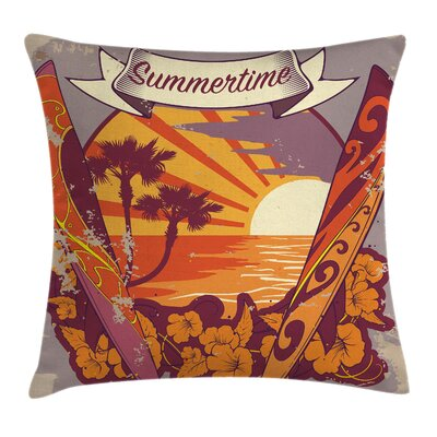Retro Exotic Summer Square Pillow Cover Size: 16 x 16