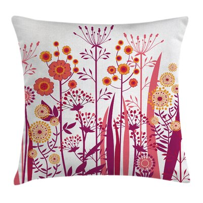 Florals Leaves Buds Square Pillow Cover Size: 18 x 18
