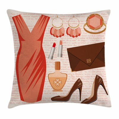 Heels and Dresses Fashion Dress Square Pillow Cover Size: 16 x 16