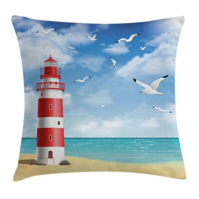 Beach Lighthouse Seagulls Ocean Square Pillow Cover Size: 16 x 16