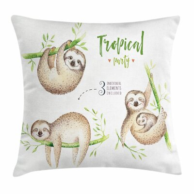 Cute Sloth Babies Palm Leaves Square Pillow Cover Size: 24 x 24