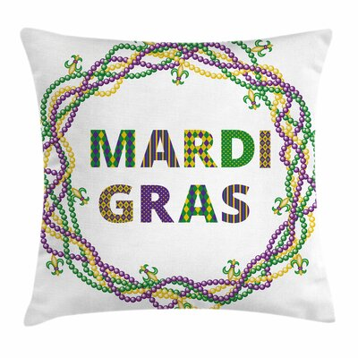 Mardi Gras Vivid Beads Patterns Square Cushion Pillow Cover Size: 24 x 24