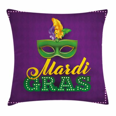Mardi Gras Mask Feathers Square Cushion Pillow Cover Size: 16 x 16